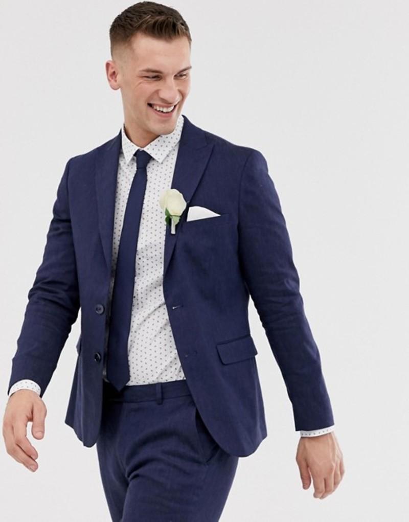 モス ブラザーズ メンズ ジャケット・ブルゾン アウター Moss London slim suit jacket in navy linen with stretch Navy