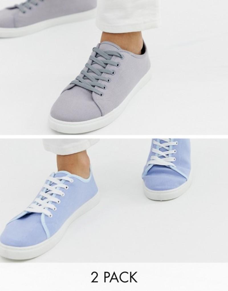 トリュフコレクション メンズ スニーカー シューズ Truffle Collection two pack lace up plimsolls in gray and blue Multi