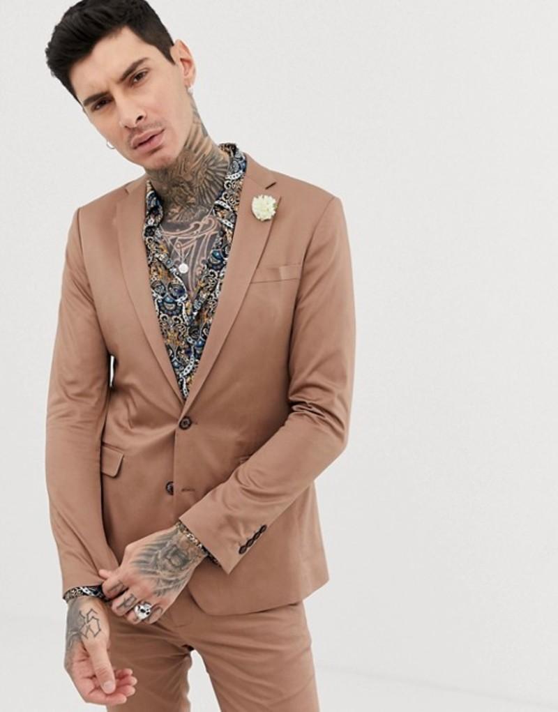 デビルズ アドボケート メンズ ジャケット・ブルゾン アウター Devils Advocate super skinny plain cotton sateen stretch suit jacket Brown