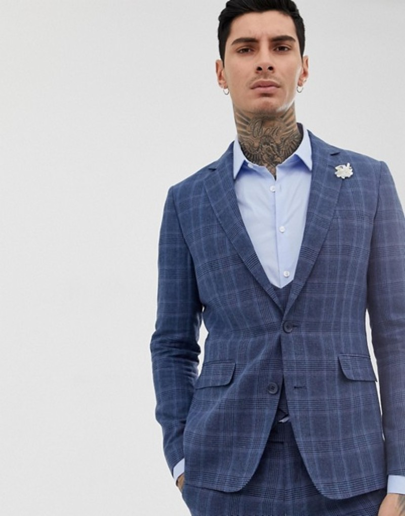 ジャンニ フェロー メンズ ジャケット・ブルゾン アウター Gianni Feraud slim fit linen blend check suit jacket Blue