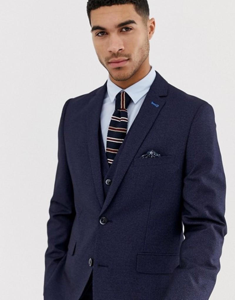 ハリー ブラウン メンズ ジャケット・ブルゾン アウター Harry Brown slim fit small check navy suit jacket Navy