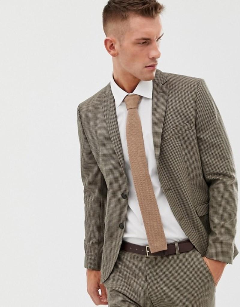 セレクテッドオム メンズ ジャケット・ブルゾン アウター Selected Homme slim fit dog tooth suit jacket Beige