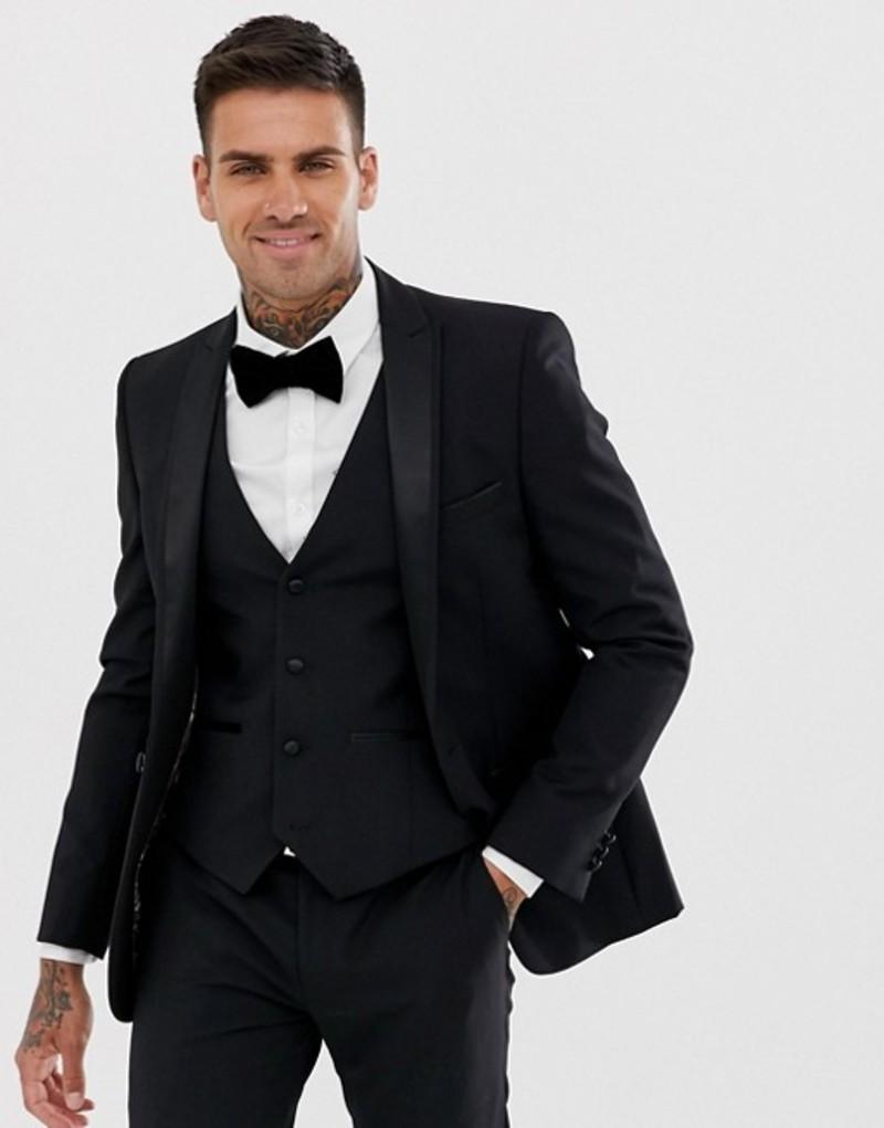 ハリー ブラウン メンズ ジャケット・ブルゾン アウター Harry Brown slim fit 85% wool satin lapel dinner suit jacket Black