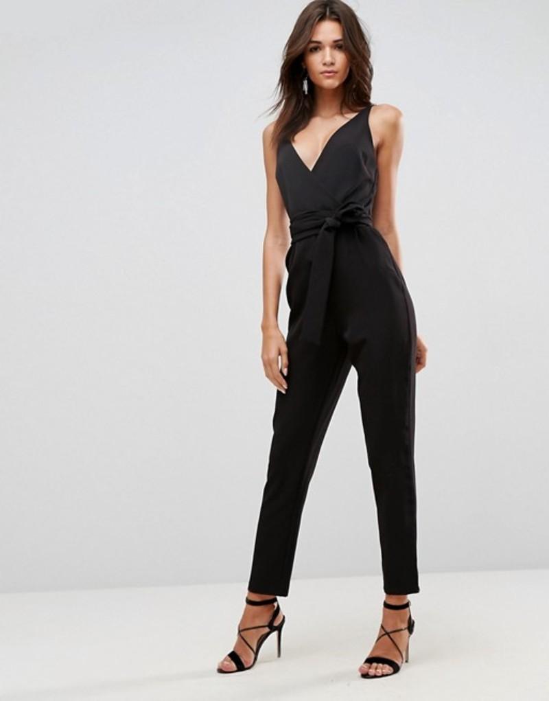 エイソス レディース ワンピース トップス ASOS Wrap Front Jumpsuit with Peg Leg and Self Belt Black