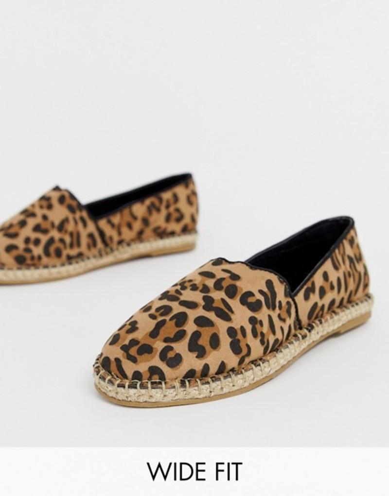 トリュフコレクション レディース サンダル シューズ Truffle Collection wide fit leopard espadrille Leopard