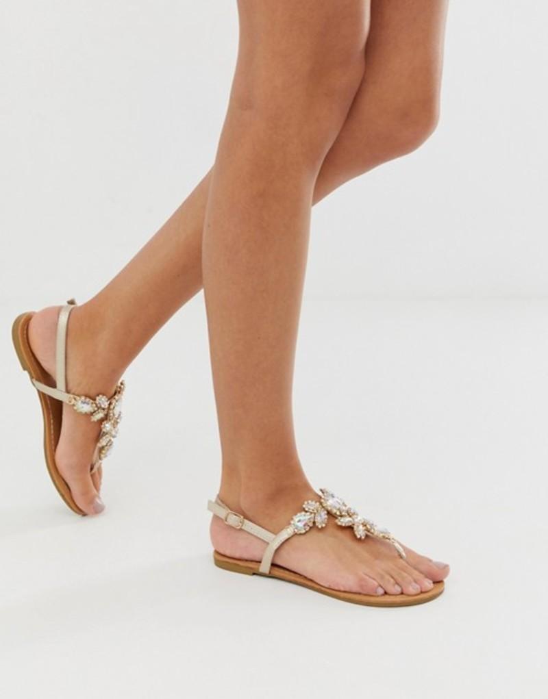キューピッド レディース サンダル シューズ Qupid embellished flat sandals Gold
