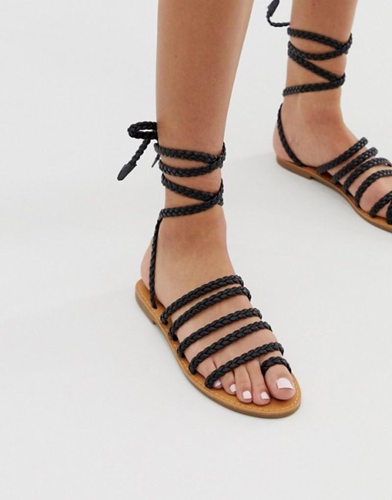 ロンドンレベル レディース サンダル シューズ London Rebel plaited toe loop sandals Black