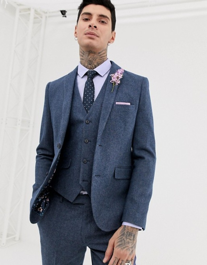 ハリー ブラウン メンズ ジャケット・ブルゾン アウター Harry Brown wedding wool blend slim fit summer tweed suit jacket Blue