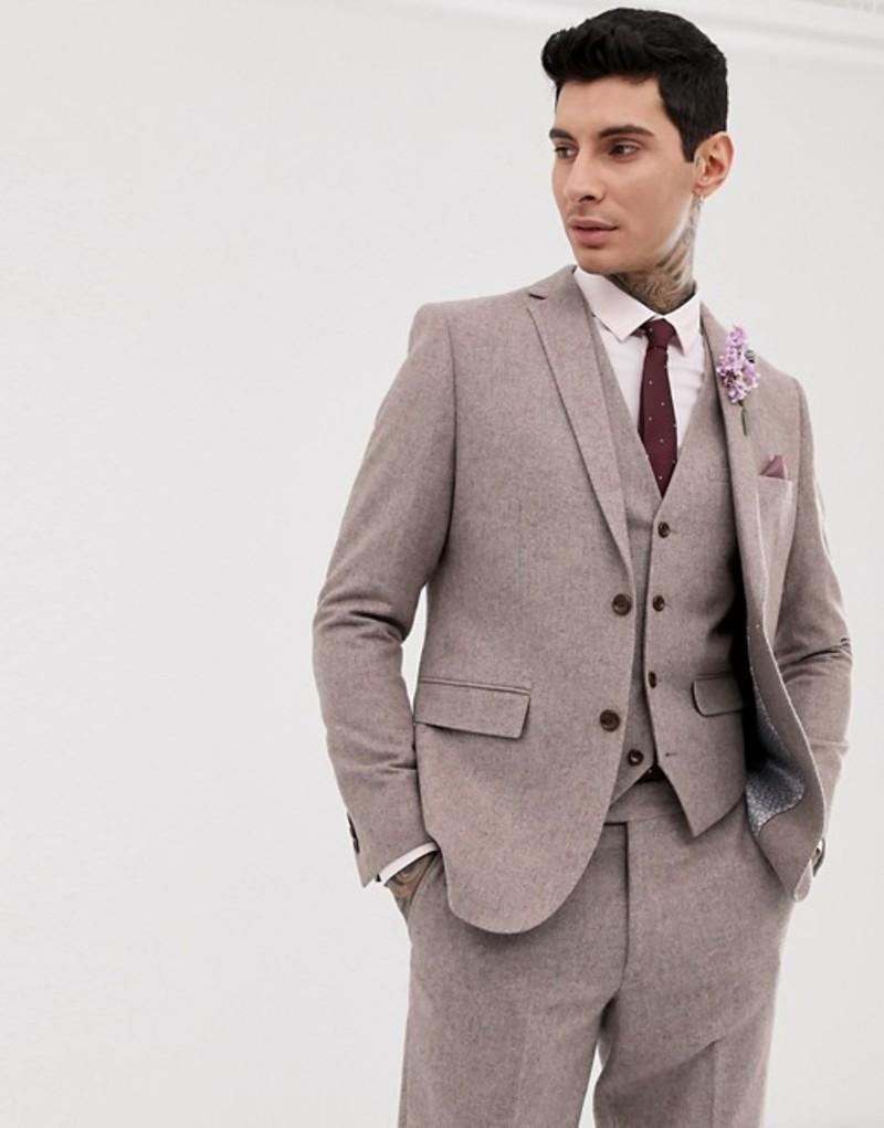 ハリー ブラウン メンズ ジャケット・ブルゾン アウター Harry Brown wedding wool blend slim fit summer tweed suit jacket Pink