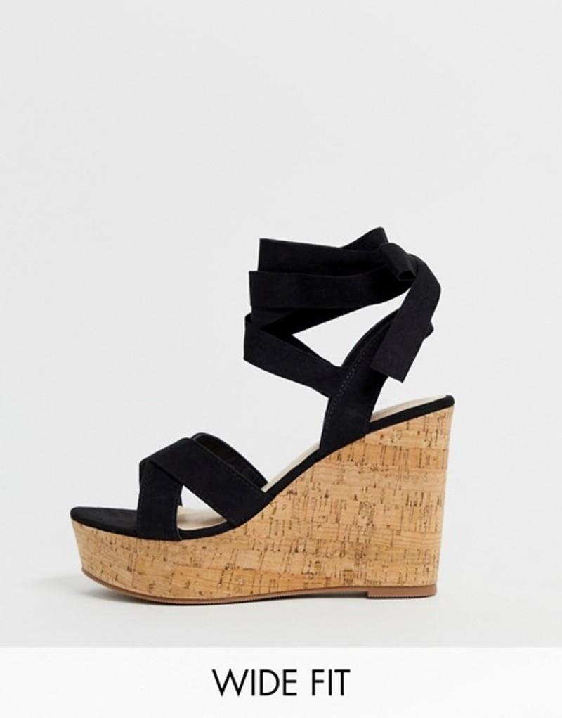 トリュフコレクション レディース サンダル シューズ Truffle Collection wide fit tie ankle wedges Black