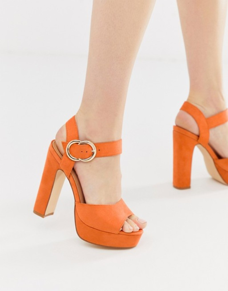 トリュフコレクション レディース サンダル シューズ Truffle Collection buckle platform heeled sandals Orange micro