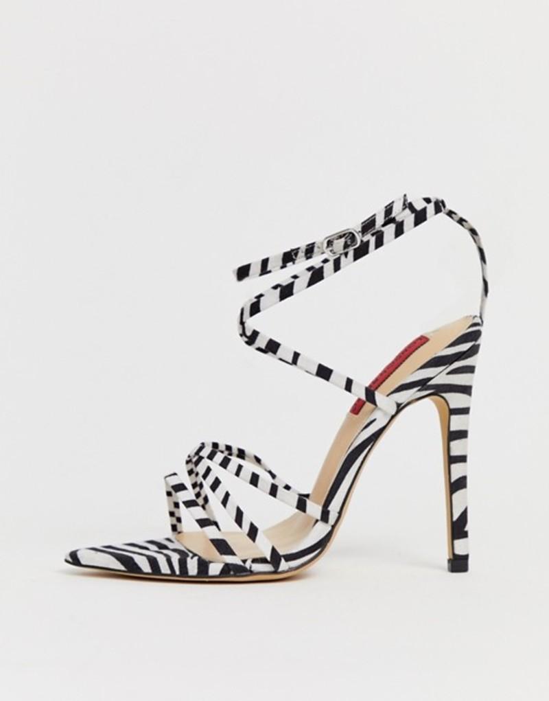 ロンドンレベル レディース サンダル シューズ London Rebel zebra strappy stiletto sandals Zebra