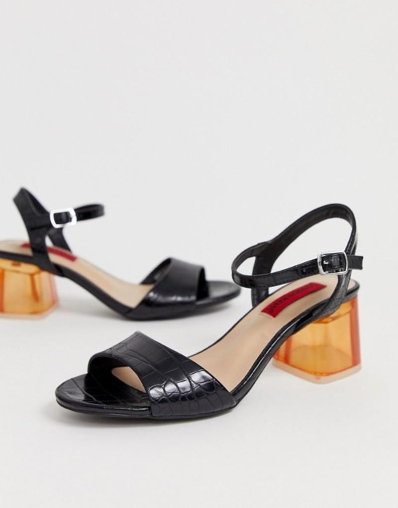ロンドンレベル レディース サンダル シューズ London Rebel transparent heeled sandals Black