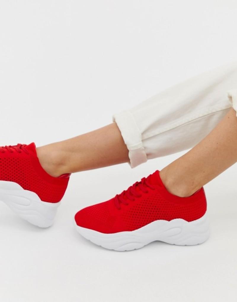 ロンドンレベル レディース スニーカー シューズ London Rebel knitted lace up runner sneakers Red