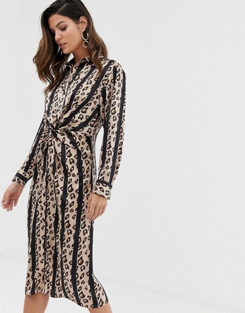 リクオリッシュ レディース ワンピース トップス Liquorish twist front shirt dress in stripe leopard Leopard stripe