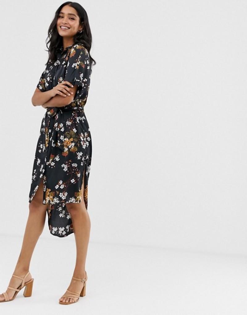 リクオリッシュ レディース ワンピース トップス Liquorish midi shirt dress in floral print Black