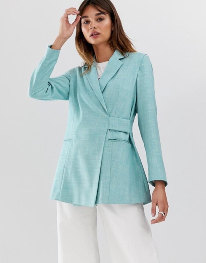 エイソス レディース ジャケット・ブルゾン アウター ASOS WHITE tab detail textured suit jacket Blue