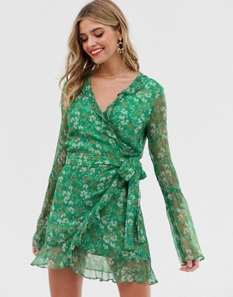 スティービーメイ レディース ワンピース トップス Stevie May jade long sleeve valentine wrap mini dress Moss floral