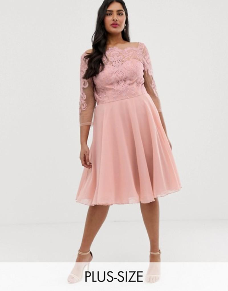 チチロンドン レディース ワンピース トップス Chi Chi London Plus premium lace midi dress with chiffon skirt in pink Pink
