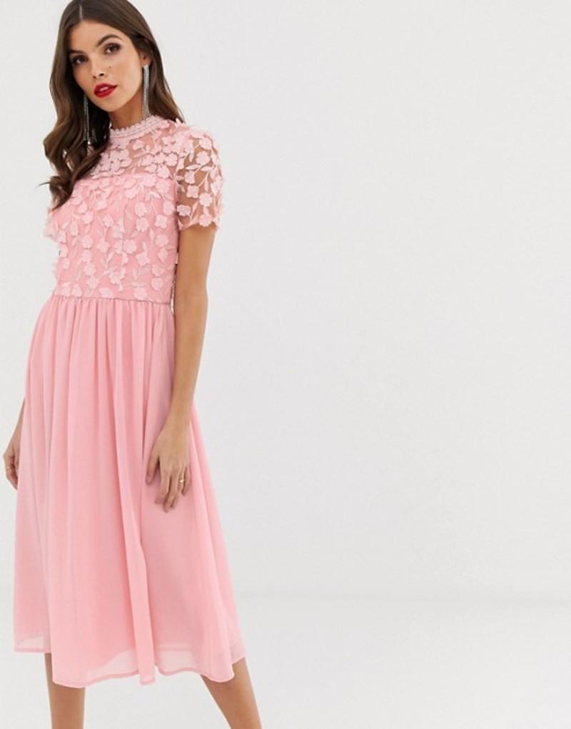 チチロンドン レディース ワンピース トップス Chi Chi London 2 in 1 3D applique skater dress with tulle skirt in pink Pink