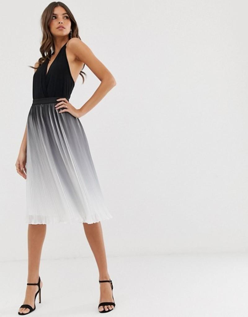 チチロンドン レディース スカート ボトムス Chi Chi London pleated color block midi skirt in monochrome dip dye effect Black/white