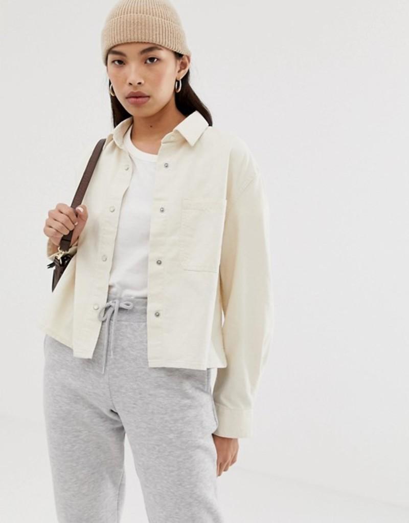 ウィークデイ レディース ジャケット・ブルゾン アウター Weekday short denim shirt jacket with pocket detailing Ecru
