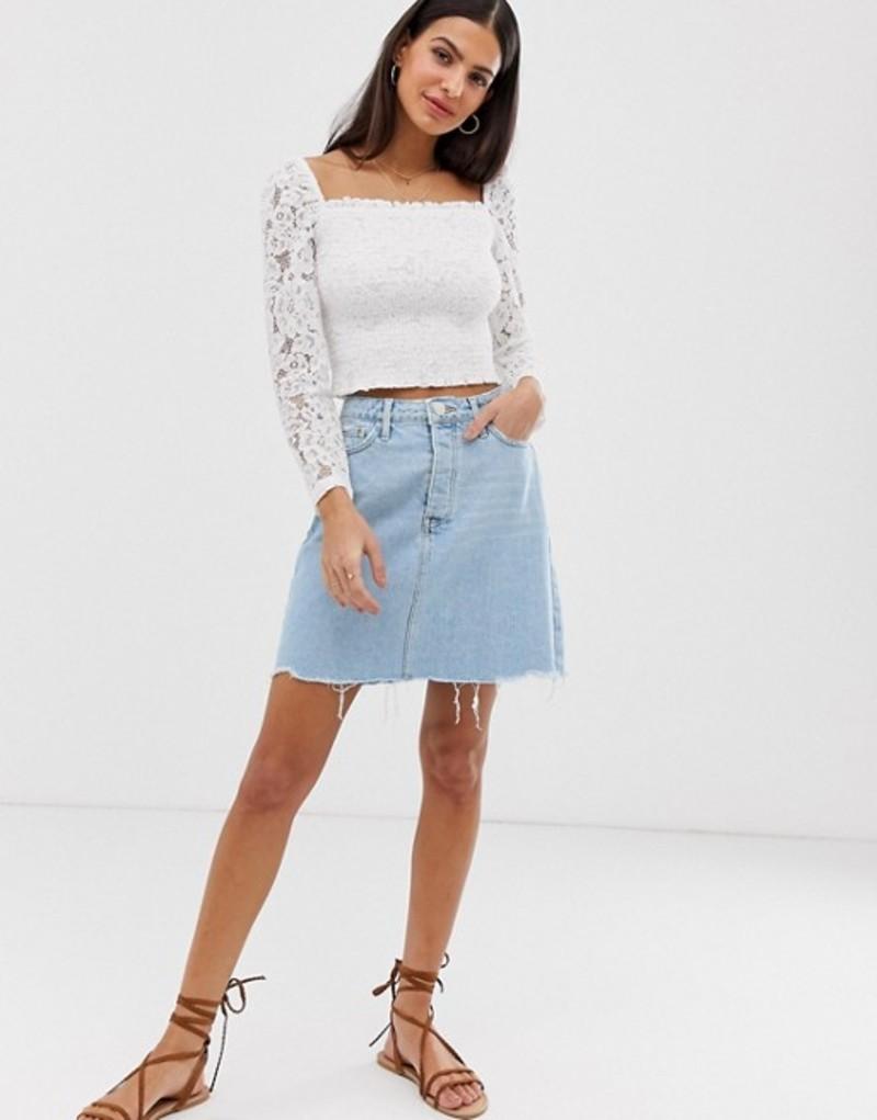 リバーアイランド レディース スカート ボトムス River Island denim mini skirt with frayed hem in mid wash Light auth