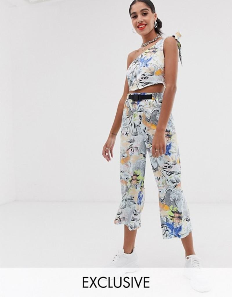 リクレイム ヴィンテージ レディース カジュアルパンツ ボトムス Reclaimed Vintage inspired pants in japanese print Blue