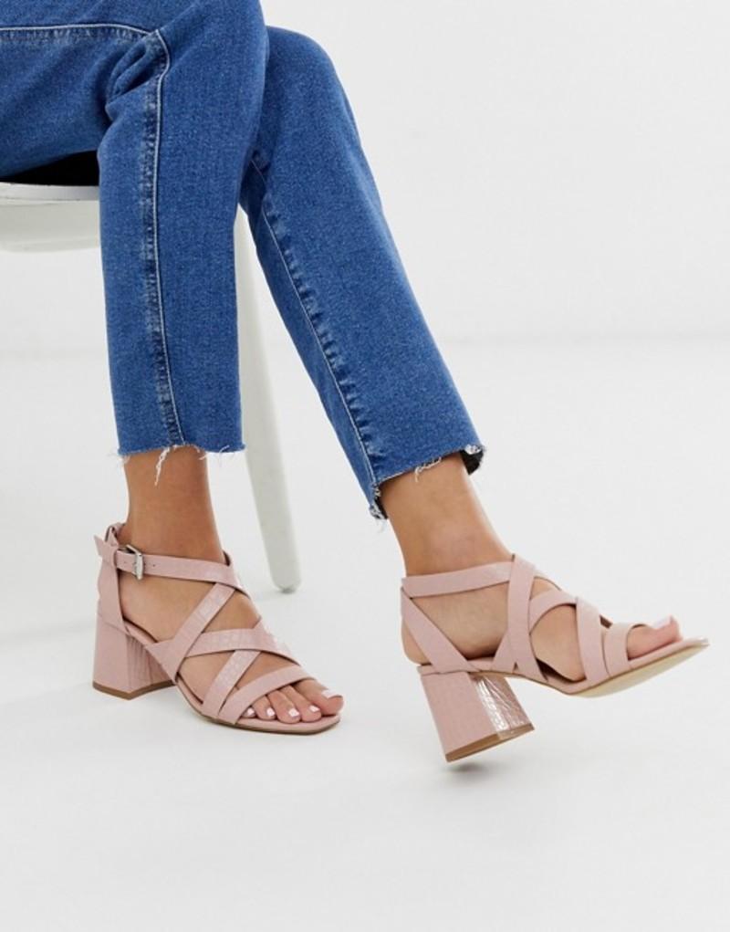 ニュールック レディース サンダル シューズ New Look block heel sandal in pink croc effect Pink