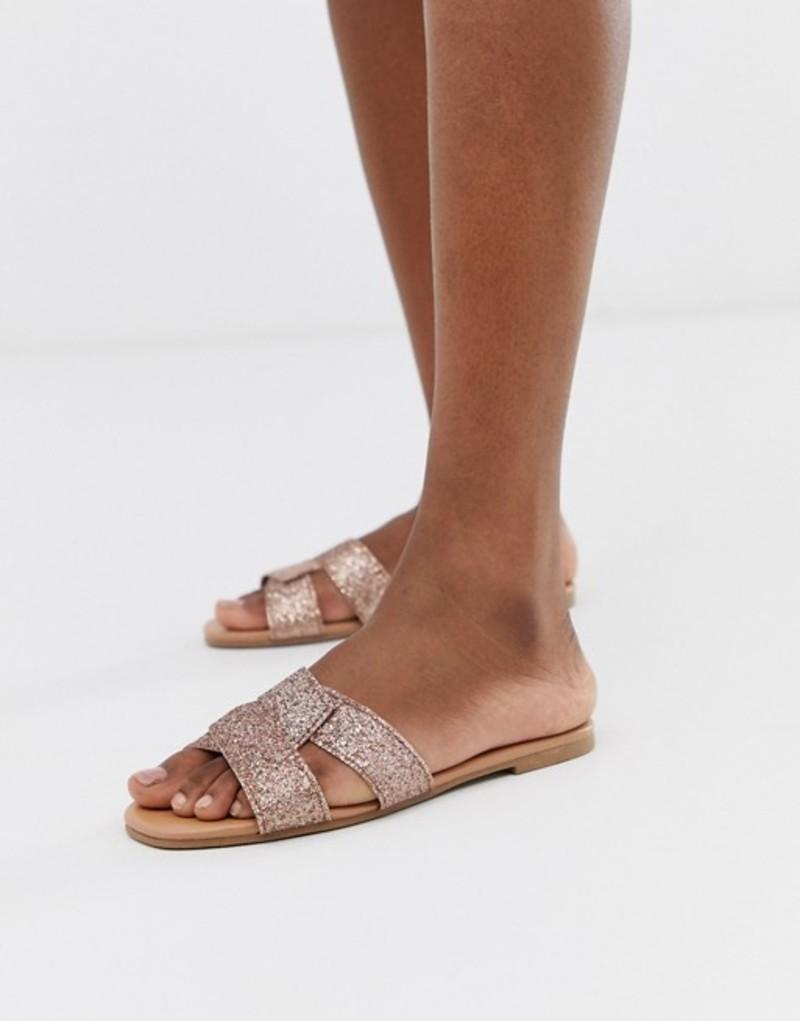 ニュールック レディース サンダル シューズ New Look interweave sandal in rose gold Gold