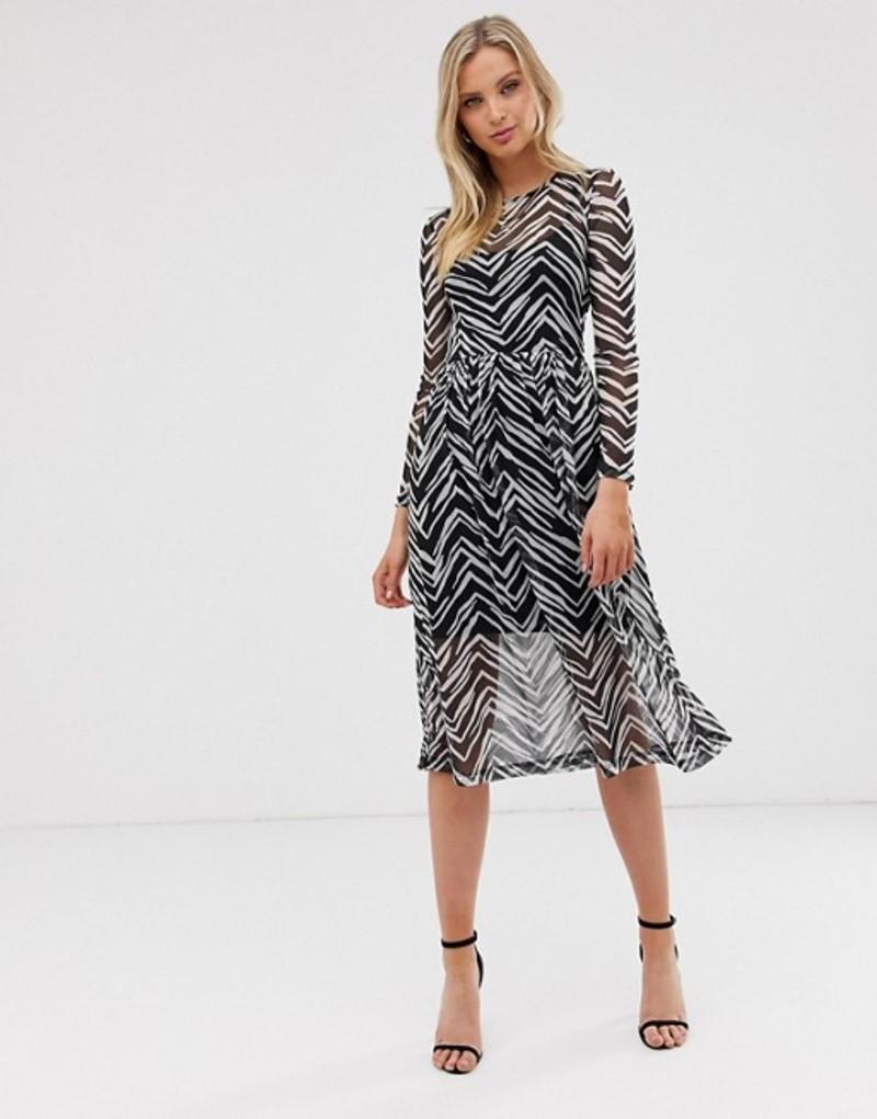 リバーアイランド レディース ワンピース トップス River Island mesh midi dress in mono print Zebra