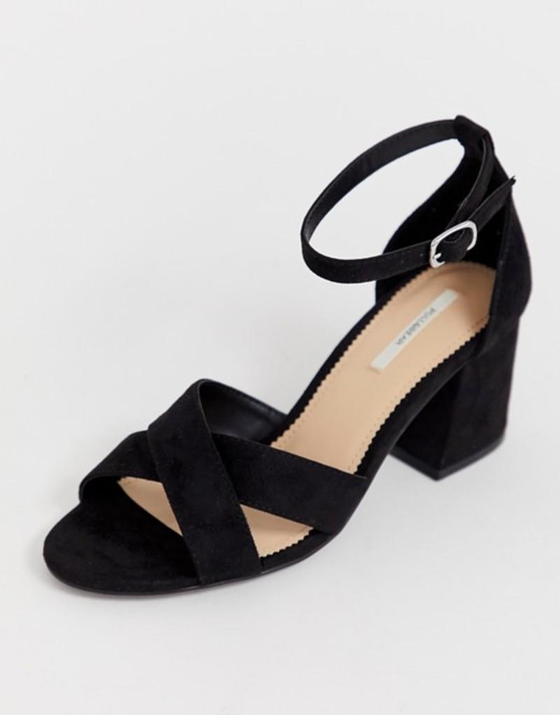 プルアンドベアー レディース サンダル シューズ Pull&Bear block heel sandal cross front in black Black