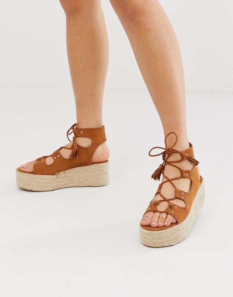 プルアンドベアー レディース サンダル シューズ Pull&Bear flatform sandals in tan Tan