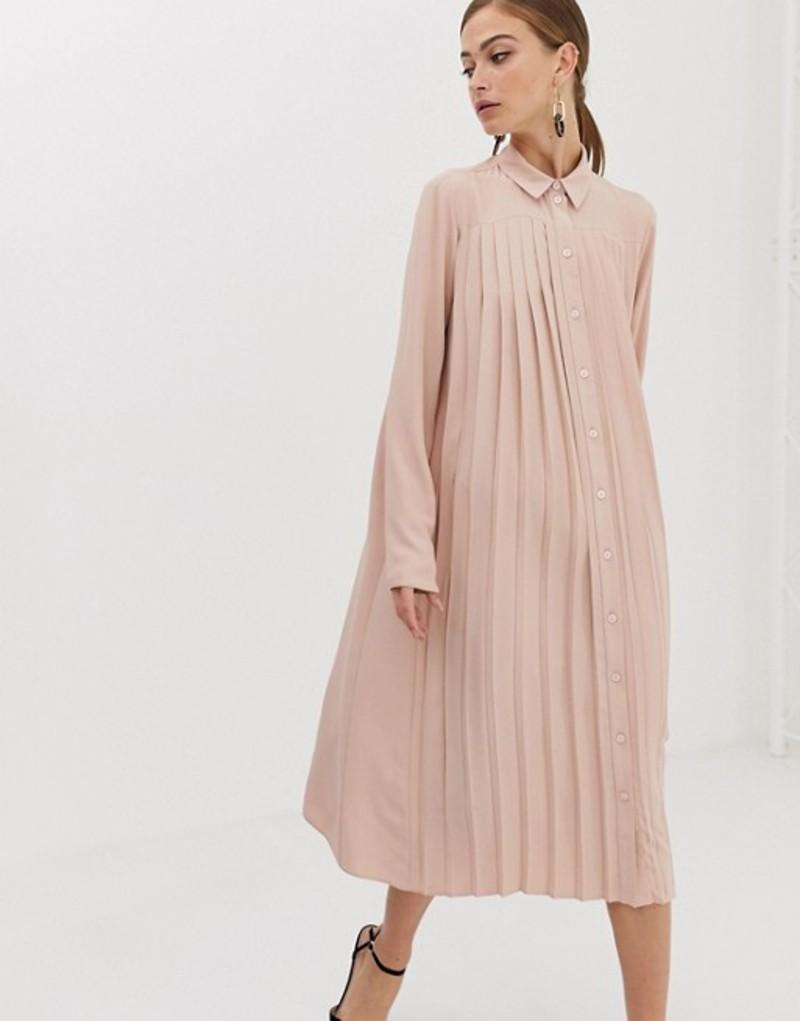 エイソス レディース ワンピース トップス ASOS DESIGN pleated midi shirt dress Blush
