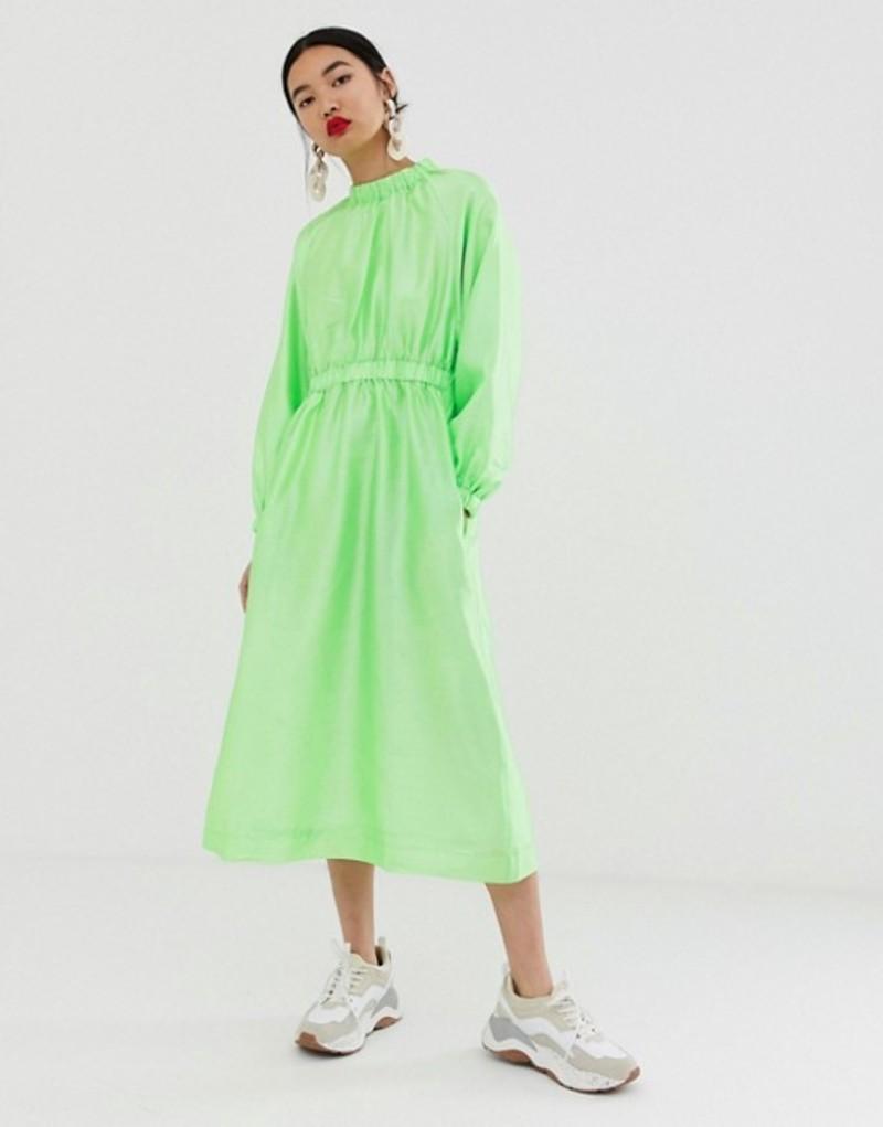 エイソス レディース ワンピース トップス ASOS WHITE textured gathered neck dress Green