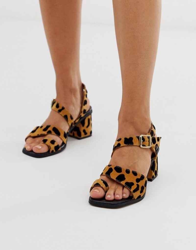 エイソス レディース サンダル シューズ ASOS DESIGN Hickery premium suede toe loop block heeled sandals in leopard Leopard
