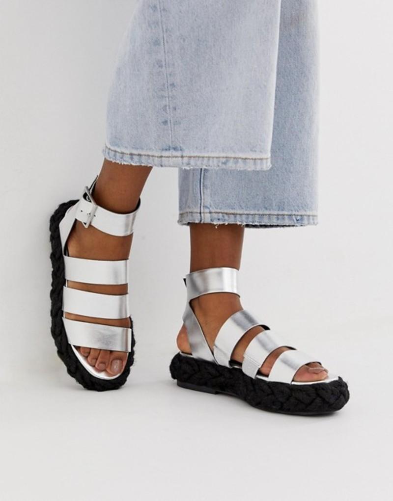 エイソス レディース サンダル シューズ ASOS DESIGN Jao chunky espadrille sandals Silver