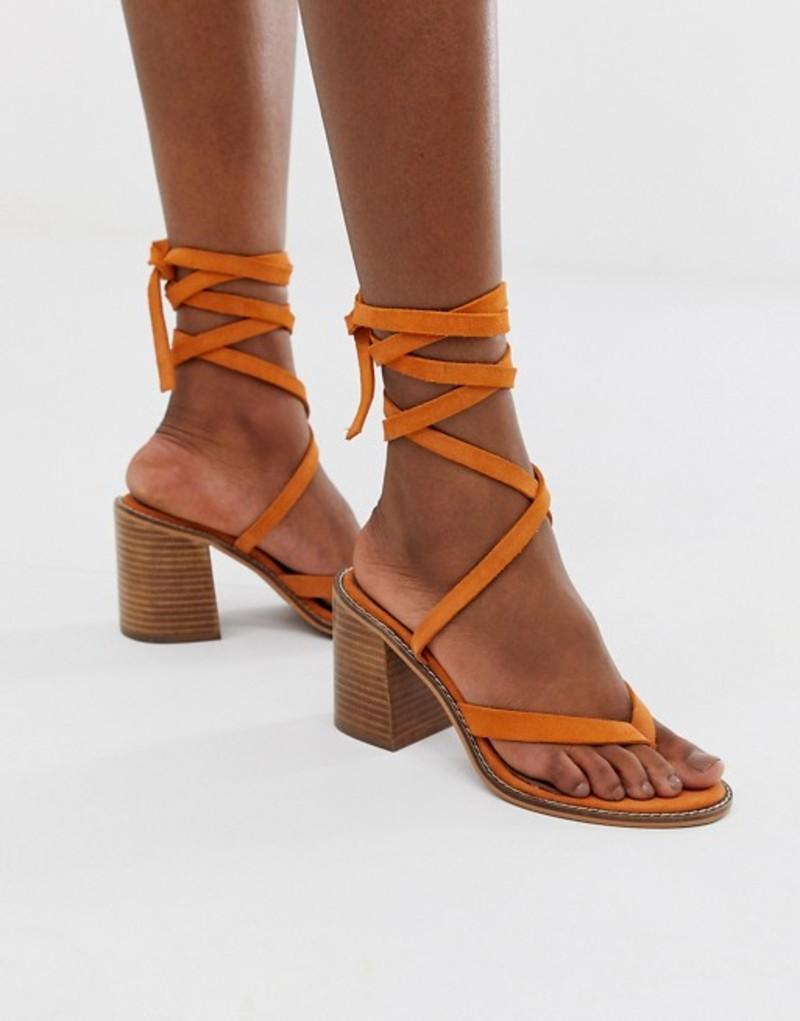 エイソス レディース サンダル シューズ ASOS DESIGN Tropical suede tie leg sandals Orange suede