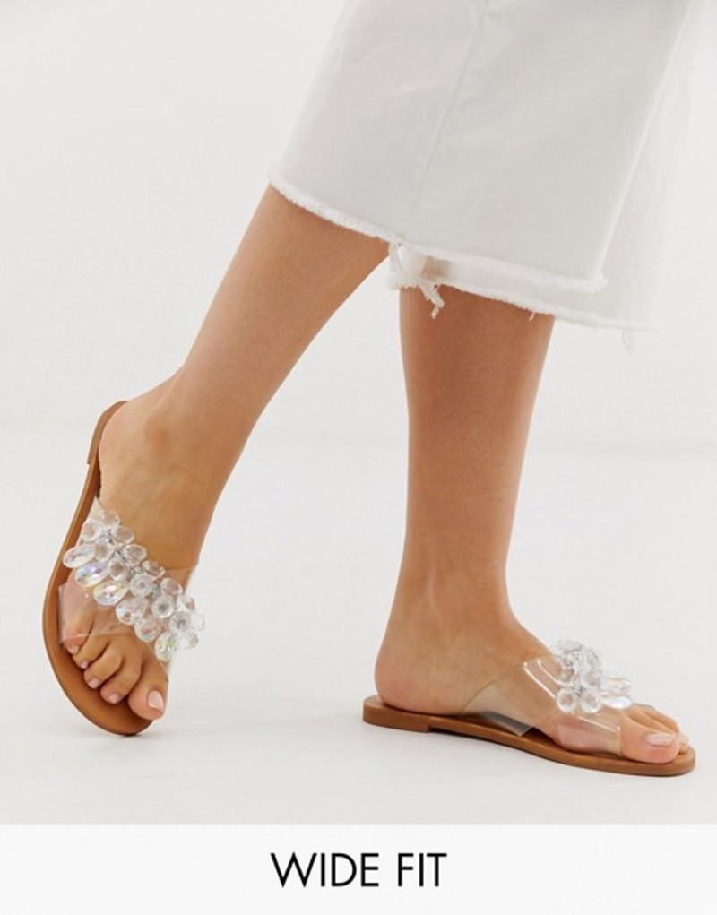 エイソス レディース サンダル シューズ ASOS DESIGN Wide Fit Fortnight cross strap perspex mules Clear
