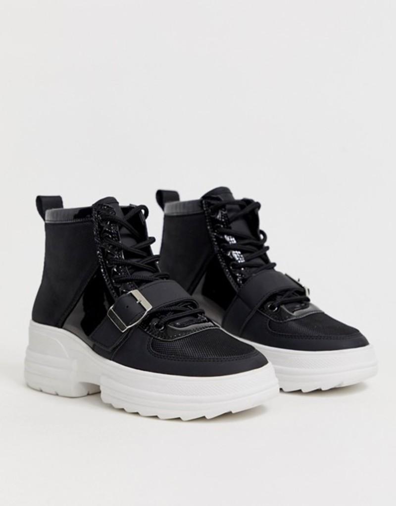 エイソス レディース スニーカー シューズ ASOS DESIGN Discover chunky hi top sneakers in black Black