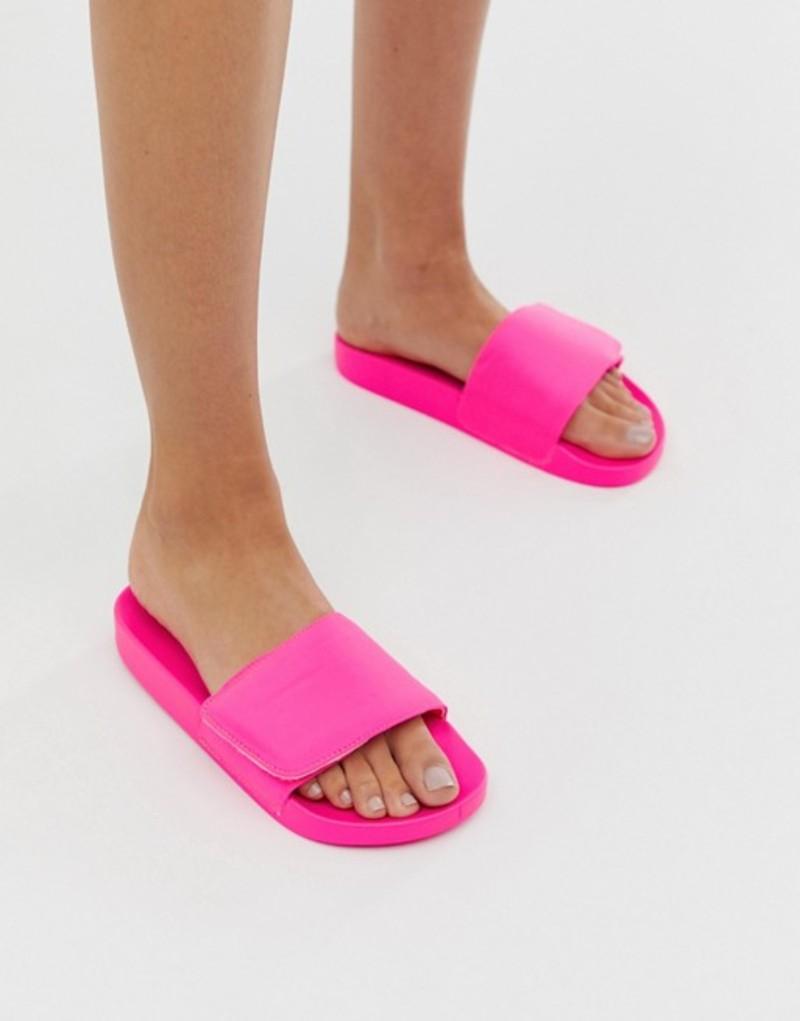 エイソス レディース サンダル シューズ ASOS DESIGN Fond padded sliders in neon pink Neon pink