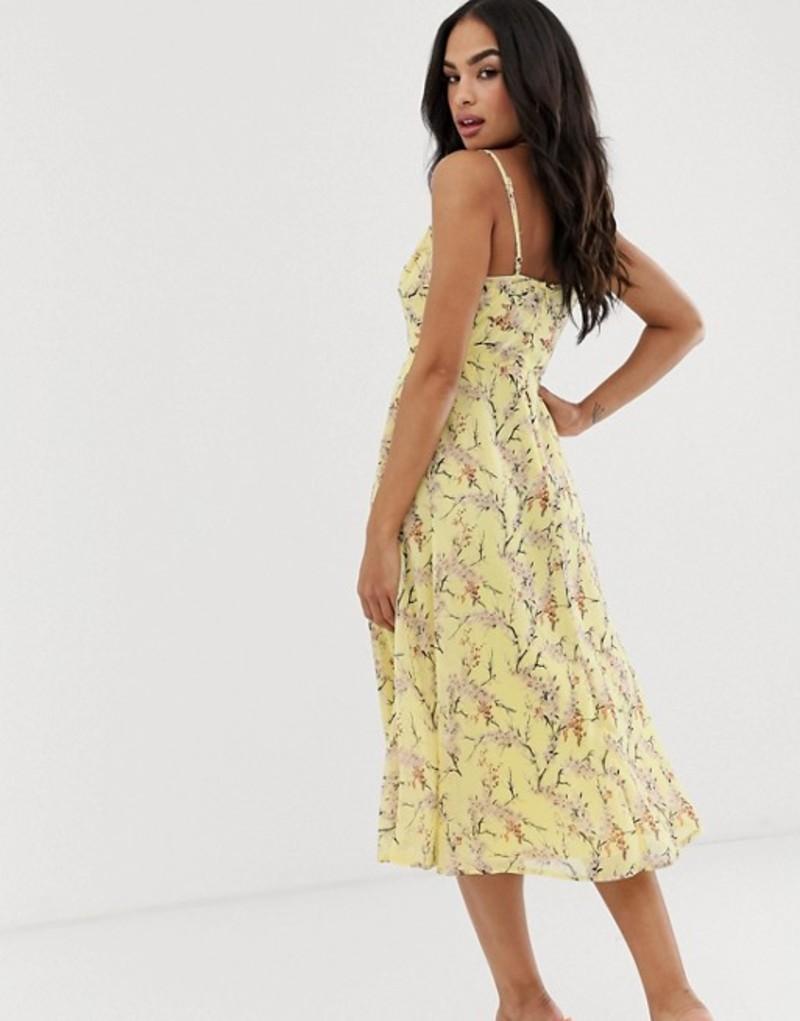 エイソス レディース ワンピース トップス ASOS DESIGN midi dress with cami straps and cut out detail in floral print Lemon floral printyvmO80wNn
