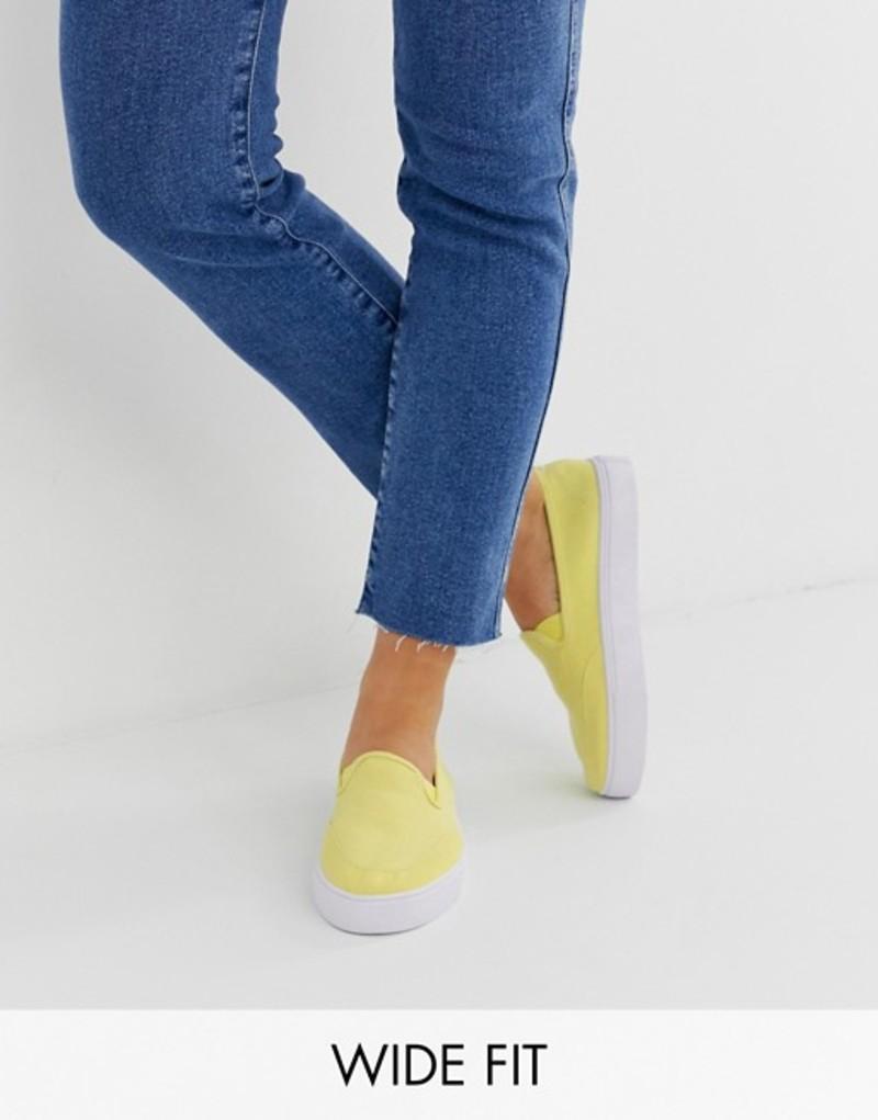 エイソス レディース スニーカー シューズ ASOS DESIGN Wide Fit Dexter slip on plimsolls in sherbet lemon Sherbet lemon