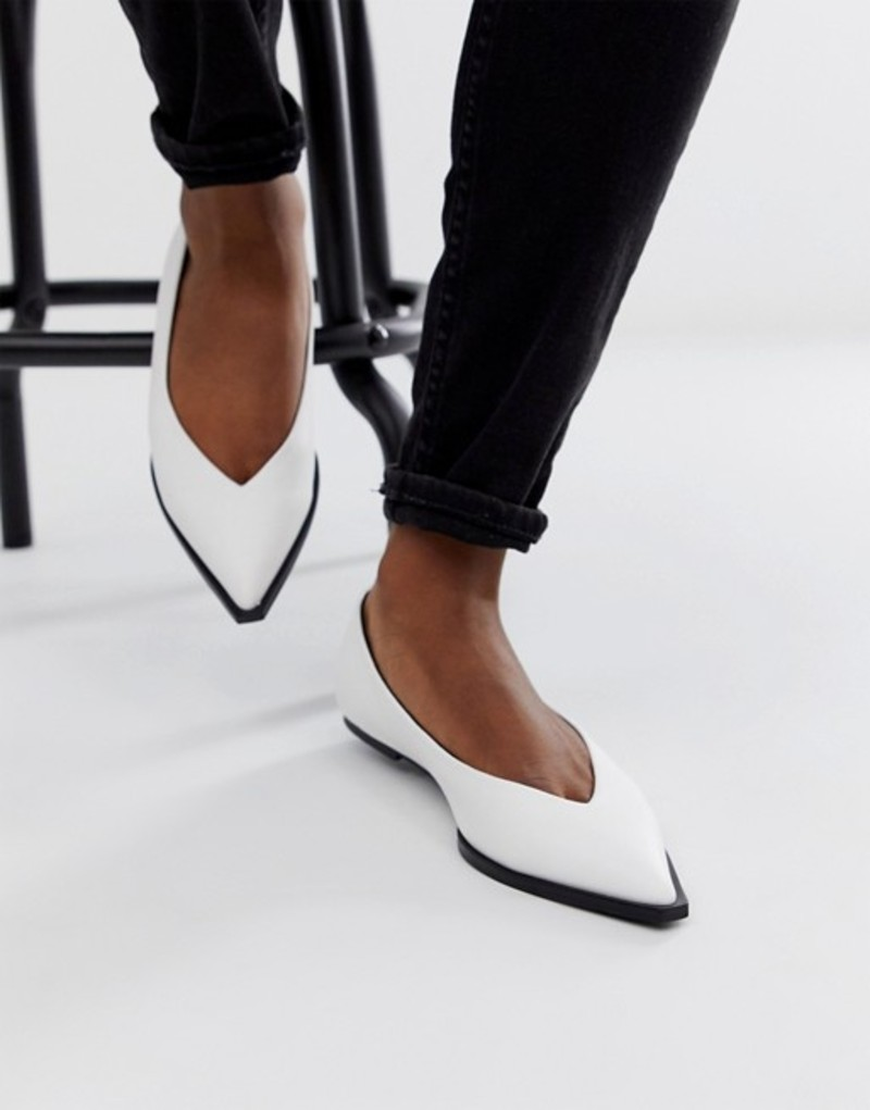 エイソス レディース パンプス シューズ ASOS DESIGN Levels high vamp ballet flats in white White