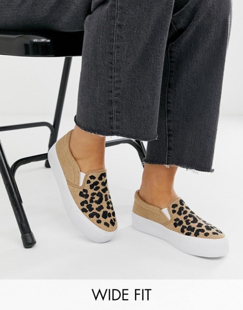 エイソス レディース スニーカー シューズ ASOS DESIGN Wide Fit Weekend slip on plimsolls in embroidered leopard Natural hessian