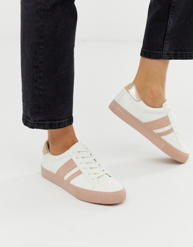 エイソス レディース スニーカー シューズ ASOS DESIGN Defeat sneakers in white and pink White/pink