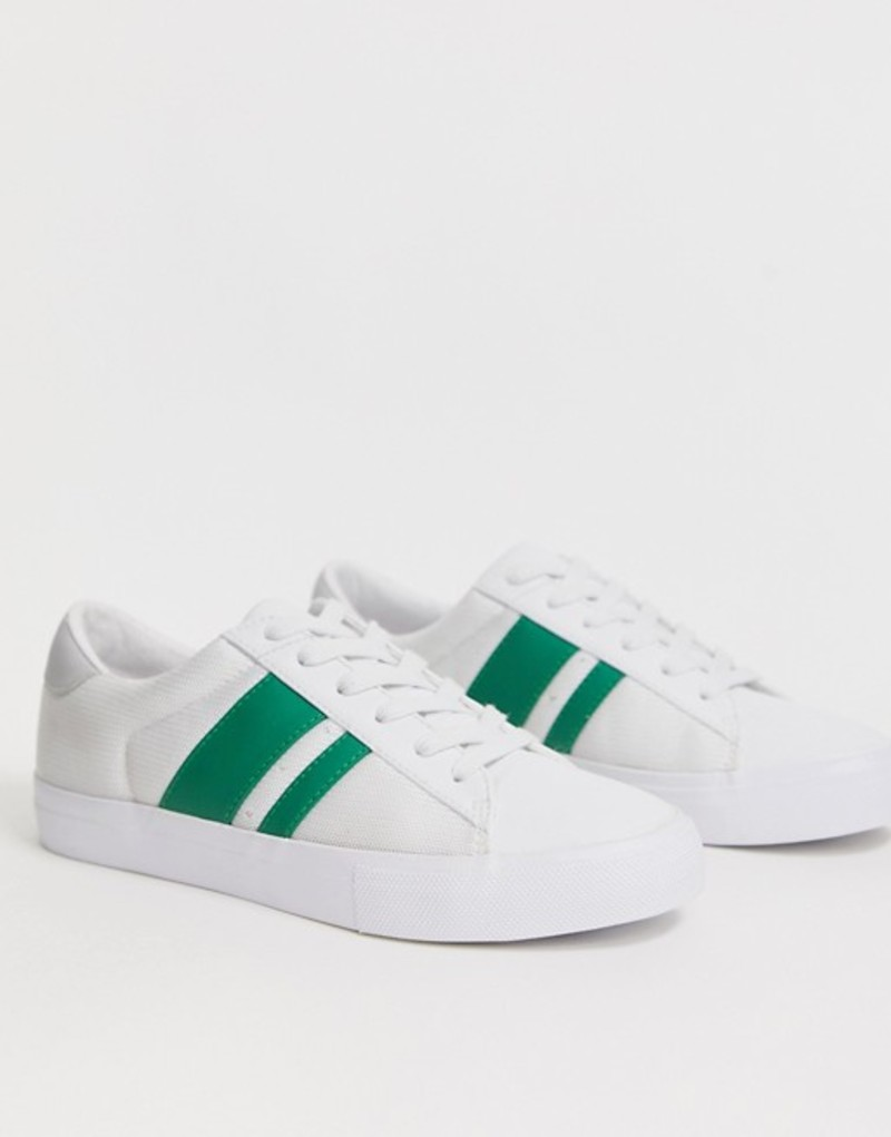 エイソス レディース スニーカー シューズ ASOS DESIGN Defeat sneakers in white and green White/green