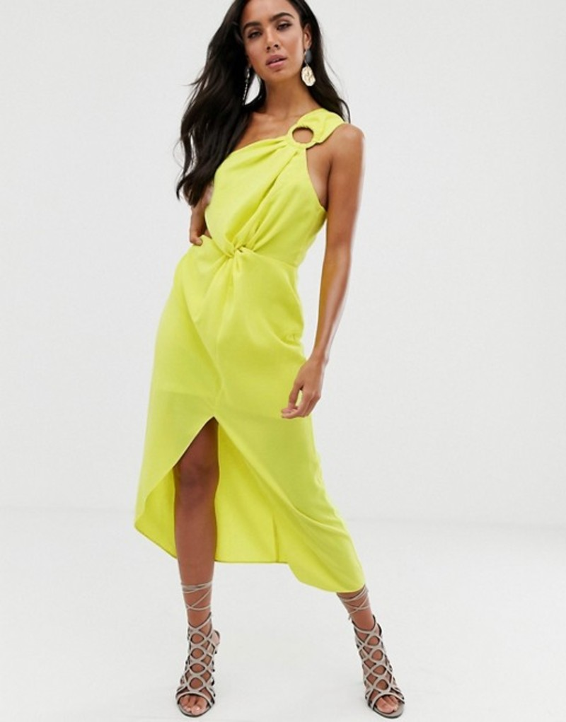 エイソス レディース ワンピース トップス ASOS DESIGN midi dress with one shoulder ring detail and hitched waist Neon lime