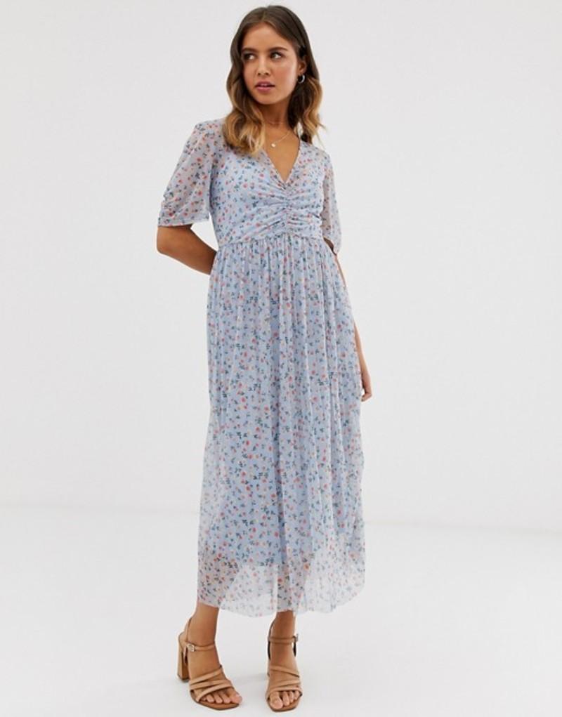 エイソス レディース ワンピース トップス ASOS DESIGN ditsy print midi mesh tea dress with pleated skirt Ditsy print