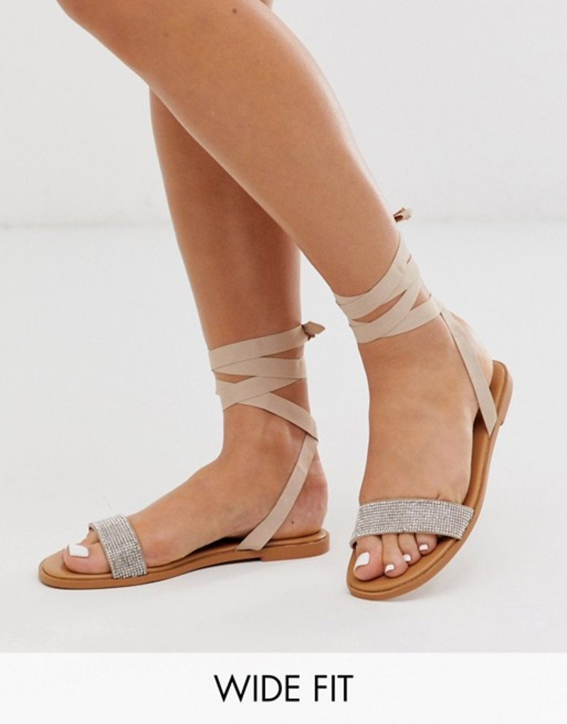 エイソス レディース サンダル シューズ ASOS DESIGN Wide Fit Flawless embellished tie leg sandals Pale beige